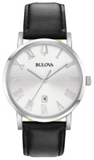 New Bulova Classic American Clipper Silver Dial Leather Band Men's Watch 96B312