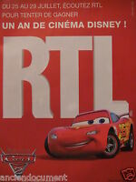 PUBLICITÉ 2011 RTL CINÉMA DISNEY PIXAR CARS 2 - ADVERTISING