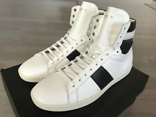 1,000$ Saint Laurent White Leather High Tops Sneakers size US 13, Made in Italy