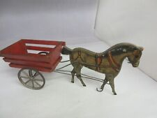 VINTAGE  WOODEN 1910 GIBBS HORSE & CART VERY OLD TOY WORKS  952