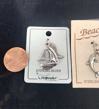 (4) CHARM LOT MAINE Sailboat Sandals Dolphin STERLING SILVER. 🏖