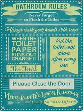 New 15x20cm Bathroom Toilet Rules metal advertising sign