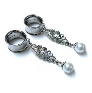 White Pearl Mandala Silver Screw-Fit Dangle Flesh Tunnel Ear Plug 6mm - 25mm