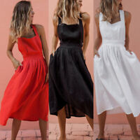 Sexy Backless Criss Cross Pleated Summer Midi Dress Bandage Pleated Sundress