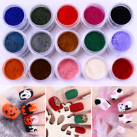 Nail Art Colorful Glitter Powder Decoration Fuzzy Flocking Velvet Nail Art Tip