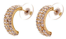 "Swarovski Elements Crystal 3/4"" Palace Hoop Earrings Gold Plated Authentic 7238y"