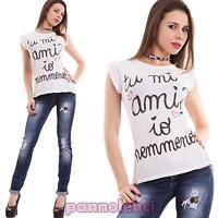 Maglietta donna maglia maniche corte scritte avvitata t-shirt nuova CC-1115