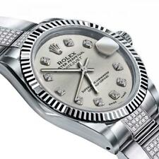 Rolex Silver 31mm Datejust 18K White & SS Center Diamond Oyster Bracelet