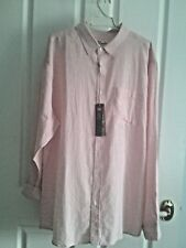 XL  RIVERS LINEN COTTON BLEND LONG SLEEVE PALE PINK SHIRT EASY CARE NWT $29
