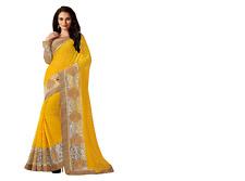 NEW INDIAN/Bollywood Pakistano etnico Designer Sari in georgette in giallo