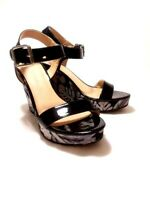 CL by Laundry™ Size 6.5 Black Floral Platform Wedge Sandals w/Ankle Strap