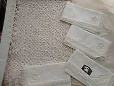 VINTAGE HAND TATTING CROCHET LACE  8 PIECE SET 100% COTTON 4 PLACEMAT & 4 NAPKIN