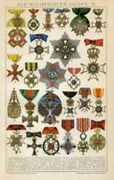 Stampa Antica 1898 = ORDINI MILITARI MONDO Medaglie = CROMOLITOGRAFIA Old Print