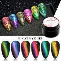 MEET ACROSS 9D Cat Eye UV Gel Nail Polish Soak off Magnetic Gel Varnish 6 Colors