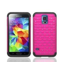 Samsung Galaxy S5 / S5 Neo Rhinestone Diamond Bling Impact Case Cover - Hot Pink