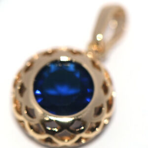 Vintage Womens Gold Pendant Blue Sapphire for Chain Necklace Fashion Accessories