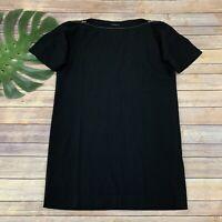 Theory Short Sleeve Shift Dress Size 8 Black Zipper Neck Wool Blend Solid