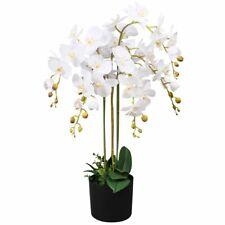 "Usa Artificial Orchid Plant w/ Pot 29.5"" White Fake Flower Floral Decor"