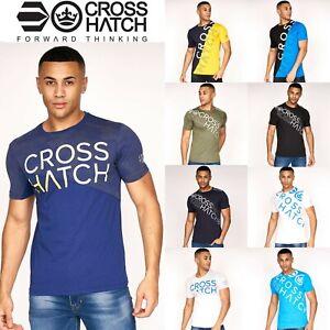 Mens Crosshatch T Shirt Crew Neck Cotton Logo Print Short Sleeve Casual Top New