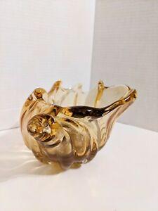 Fratelli Toso Murano Art Glass amber Conch Shell w/copper aventurine splash
