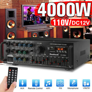 4000W AUX bluetooth Power Amplifier Vintage Car Home 2 Channel Stereo Audio Amp