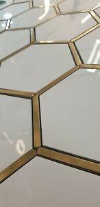 Hexagonal Gold & White Porcelain Aluminium Mosaic Tiles 1 Sheet 220 x 380 x 8mm