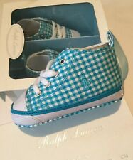 Polo Ralph Lauren Baby Boy Girl 6-9 Months Blue Gingham White Harbour Shoes