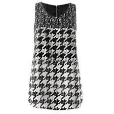 CAbi Black & White Broken Check Layered Print  Blouse Top Sz XS