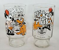 2 Vintage Walt Disney Mickey Mouse Club Mickey & Pluto Large Drinking Glasses