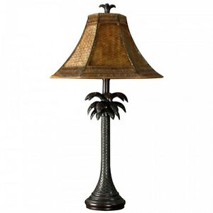 Palm Tree Table Lamp Bronze Finish Base Rattan Shade Metal Finish Home Reading