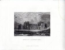 """Antiguo galés Impresiones - """"abatty llanantoni"""" - Radclyffe acero grabado (1872)"""