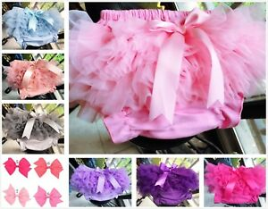 Baby Girls Frilly Tutu Knickers Bloomer Christening Wedding Bow Hair Accessories