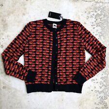M Missoni Women's Cardigan Sweater Red Geometric Print Knit Small 40