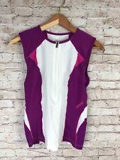 Zoot Sports Women's Medium Triathlon Cycling Tank Top Side Pockets Purple Zip