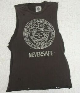 UNIF Ur Not In Fashion Neversafe Ripped to Shreds Tank Top Small Unisex Brown