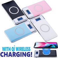 2019 New Qi Wireless Charger Power Bank 500000mAh LED LCD External Battery Pack