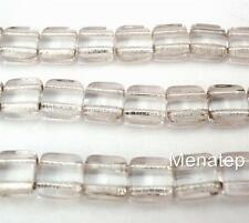 25 6x6x3mm CzechMates Two Hole Tile Beads: Crystal - Silver Lined