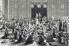Antique print interior japanese coffee dining room Japan 1870 holzstich
