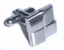 Stepped Square Rhodium Plated Cufflinks