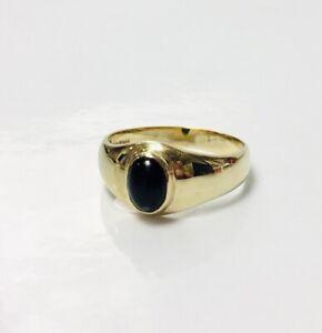"VINTAGE 9ct Gold Oval Onyx Signet Ring Hallmarked 1998 UK Size ""O"" 3.7g"