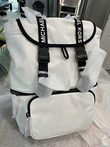 MICHAEL KORS The Michael Bag Large Slim Drawstring Flap Backpack Optic White