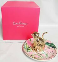 Lilly Pulitzer Chimpoiserie Ring Holder Trinket Dish Pink & Goldtone New in Box