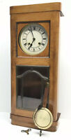Junghans Large Antique Art Deco Style Wooden Wall Clock Sold AS IS