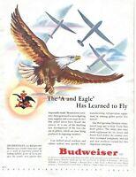 1943 Budweiser Beer Vintage Print Ad WWII American Eagle Patriotic