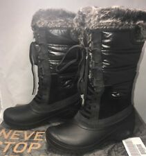 The North Face Womens Size 5.5 Boots Shellista II Black Kitten Grey Fur $150