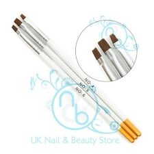 3 x Acrylic & UV Gel Brushes Nail Art Flat Brush Set Sizes 4, 6 & 8  UK SELLER