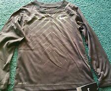 NWT Nike Boys 6 Dark Gray/Neon Yellow/White Graphic Dri-Fit L/S Shirt 6