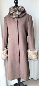 Feraud Coat Ladies Womens Size 14 Wool Cashmere Mix Faux Fur Lovely Ec. Cond