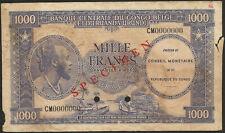 Belgian Congo Ruanda Urundi 1000 francs conseil Monétaire 1962 SPECIMEN P2s