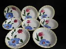 8 BLUE RIDGE HAND PAINTED SOUTHERN POTTERIES BLUE RED FLORAL BERRY BOWLS